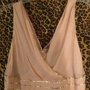 Adrianna peach colored  dress with gold thread
